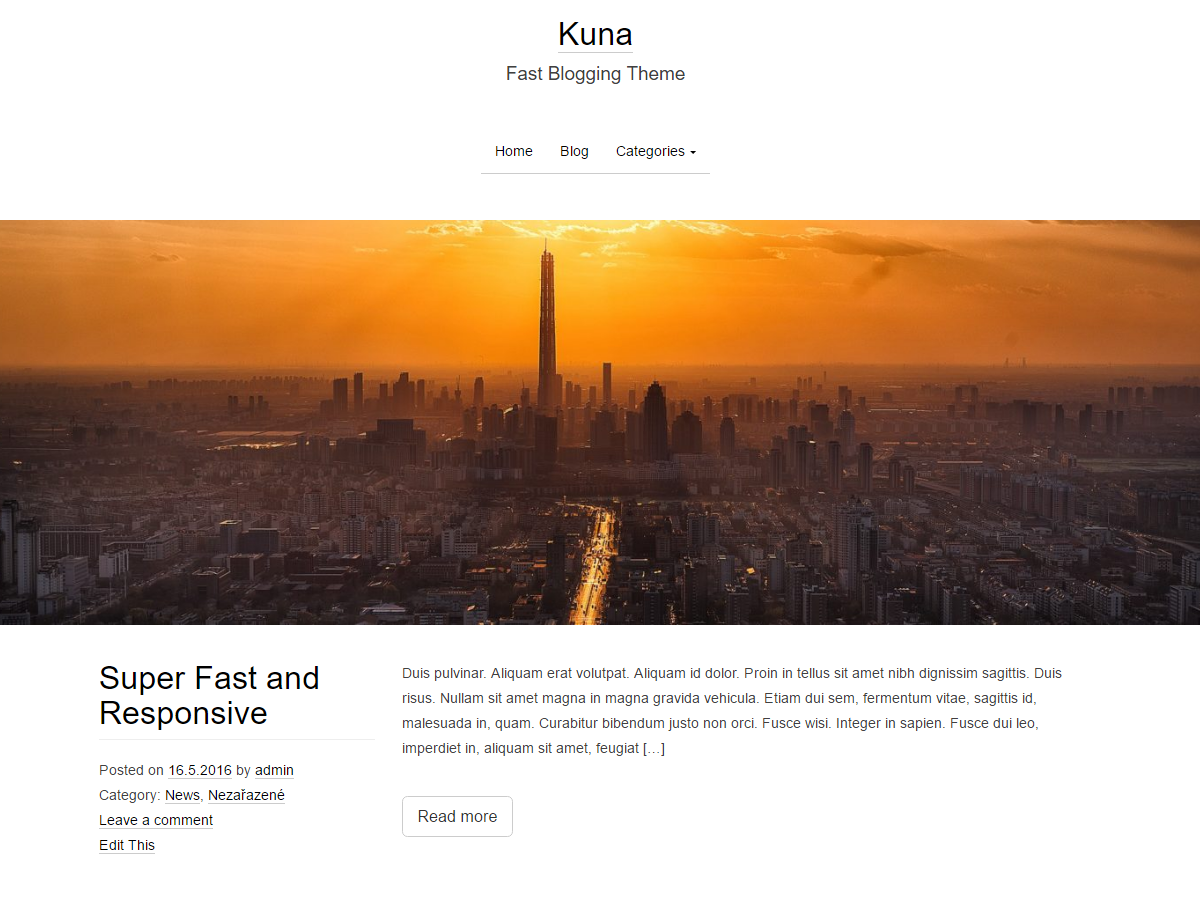 Kuna - Free blogging WordPress Theme