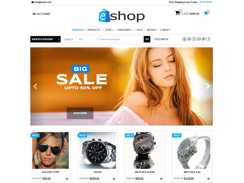 E-Shop Free WooCommerce WordPress theme