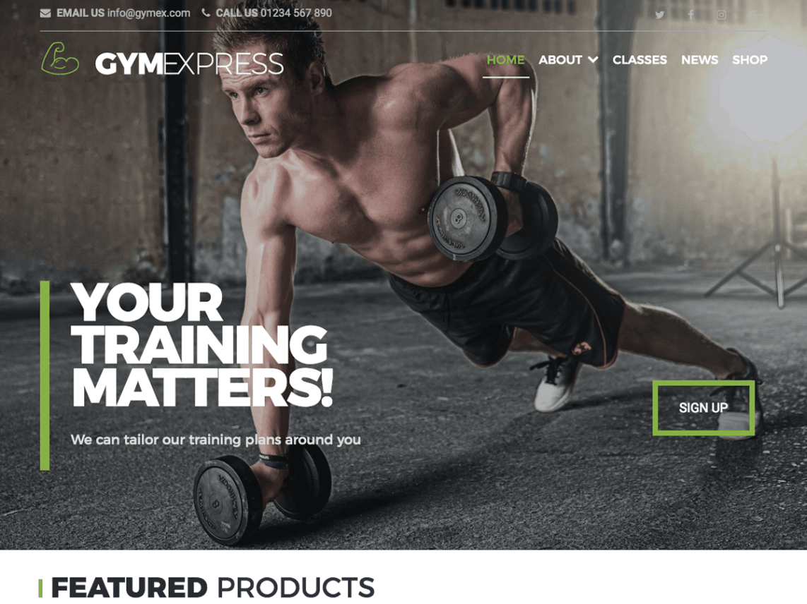 Gym Express free gym and fitness wordpress theme