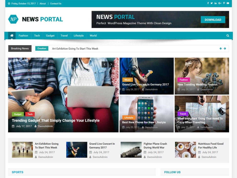 News Portal free magazine WordPress Theme