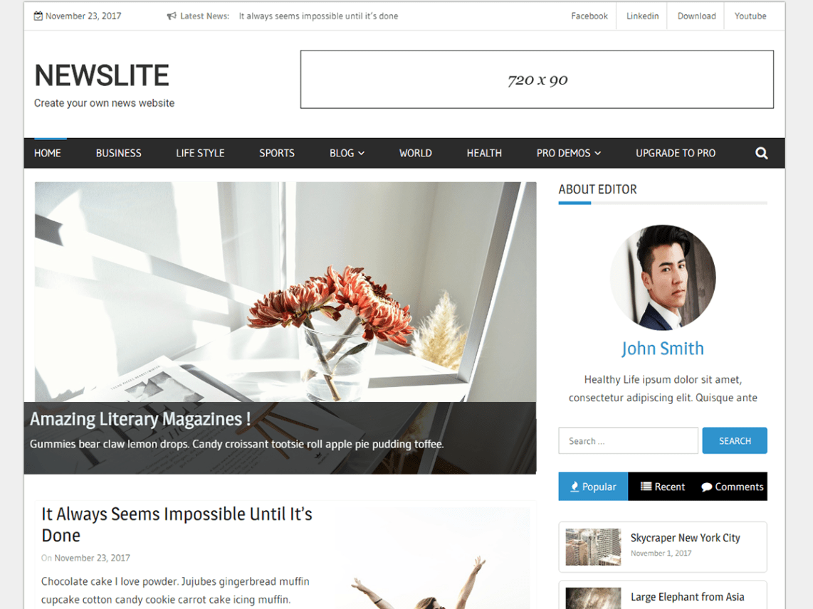 Newslite free magazine wordpress theme